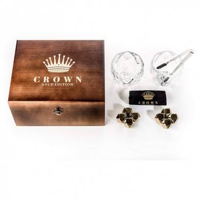 Diamond Cut Whiskey Stones Gift Set in Vintage Wood Box – 2 Large 11oz Drinking Glasses + 8 Gold Stainless Steel Chilling Rocks  Reusable Ice Cube Cool Drinks Without Diluting