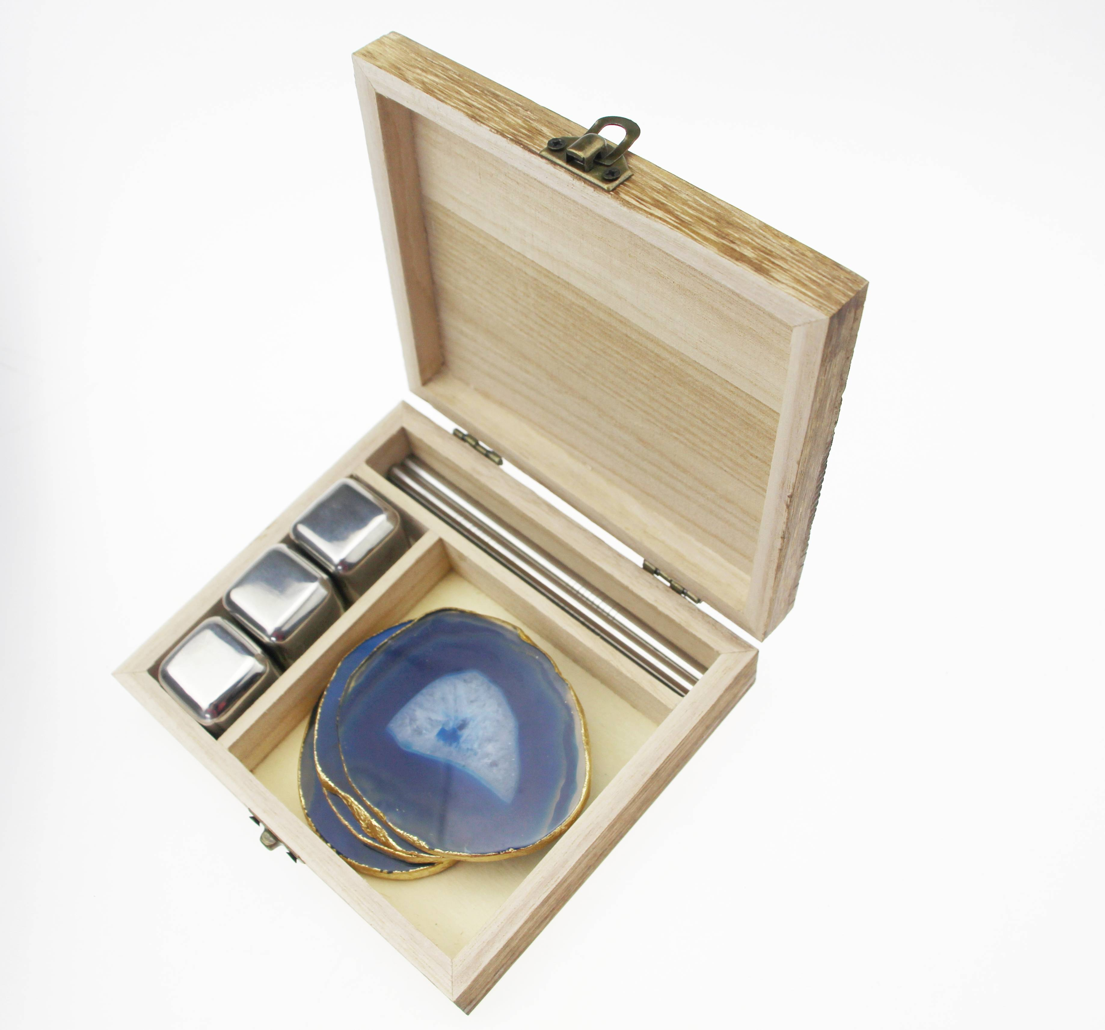 3x Whiskey Stone + Agate Coaster 4 pccs with golden rim + 4×304 stainless steel straw + wooden gift box Featured Image