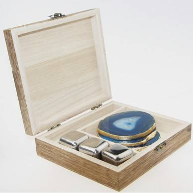 3x Whiskey Stone + Agate Coaster 4 pccs with golden rim + 4×304 stainless steel straw + wooden gift box