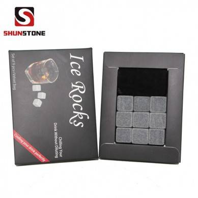 Best seller in Amazon 9 pcs of Chilling Whiskey Stones in Gift Box ice cube Made of 100% Pure Soapstone