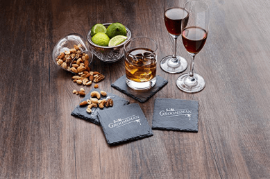SHUNSTONE Square Slate Coasters by Twine – (Set of 4)