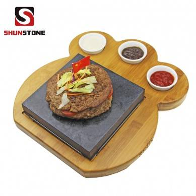 Distinctively shaped Bamboo Plate ,Basalt Cooking Lava Stone, Hot Cooking Stones For Steak