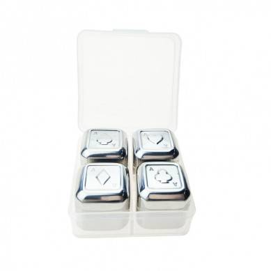 high quality and low cost Poker Design Stainless Steel Reusable Whiskey Stone Set in Plastic Box