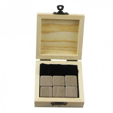 Antiquity Wood Grain Whiskey Chilling Rocks Customize Packaging Whiskey Stones Set of 6 Natural Cubes with velvet bag