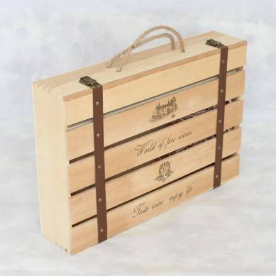 SHUNSTONE Customized Logo And Design Wooden Pine wood Wine Box For Wedding/Business/Gift
