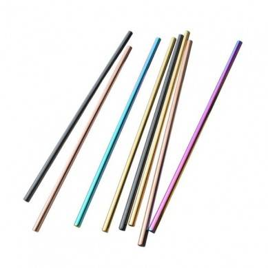 amazon top seller Eco-Friendly Reusable Stainless Steel Straws set Rainbow Color Metal Straw