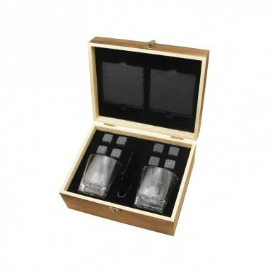 SHUNSTONE OWN design Bar Accessories Combination Crystal Glasses +Whiskey Stones+ Slate Coaster+ Wooden Gift box