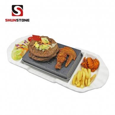 3 Pieces Set ,BBQ Stone Plate Steak Cooking Stone Gift Sets, Tableware Ceramic Plate