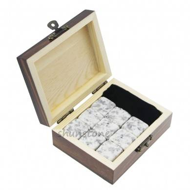 Wholesale price Wooden Box Gift Set 9pcs of Wine Chilling Rock Whiskey Stone