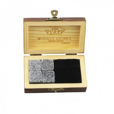 Hot product 4pcs of porphyry whiskey stone and black velvet bags into Outer Burning Wood Box high quality