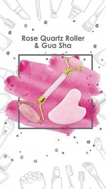 SHUNSTONE 2 in 1 Rose Quartz Roller and Gua Sha Facial Roller and Massager rejuvenating Healing