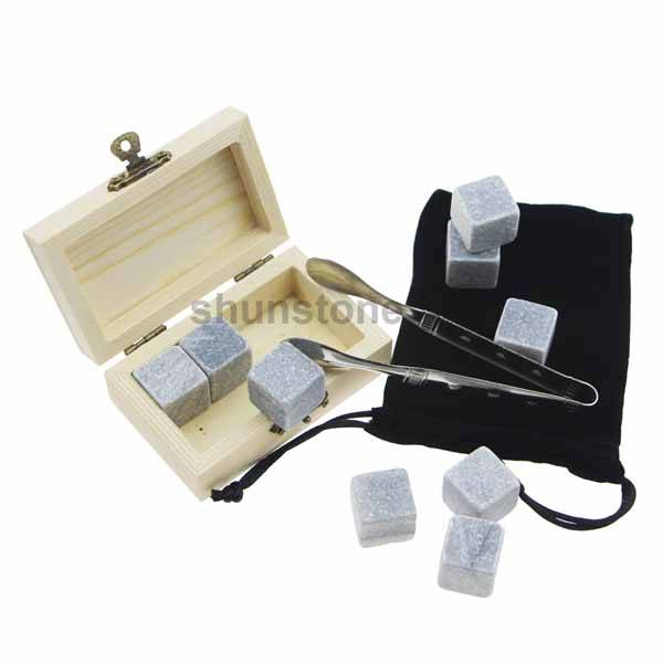 4 pcs of chilling rocks of Drinking Stones with High Quality Grey Beverage Chilling Stones Whiskey Stones With Wooden Box Featured Image