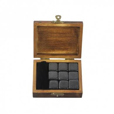 Wholesale Absolute Black polished Whisky Chilling Cubes Best Gift Whiskey Stones Gift Set with your own Brand
