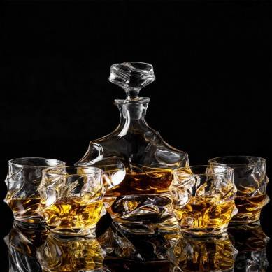 Whiskey Decanter And Glasses Set With Luxury Gift Box For Scotch + Bourbon + Liquor, 5-Piece, Original