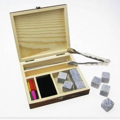 Popular kit 9 pcs of Grey whiskey ice cube stones with stainless steel straw and tong