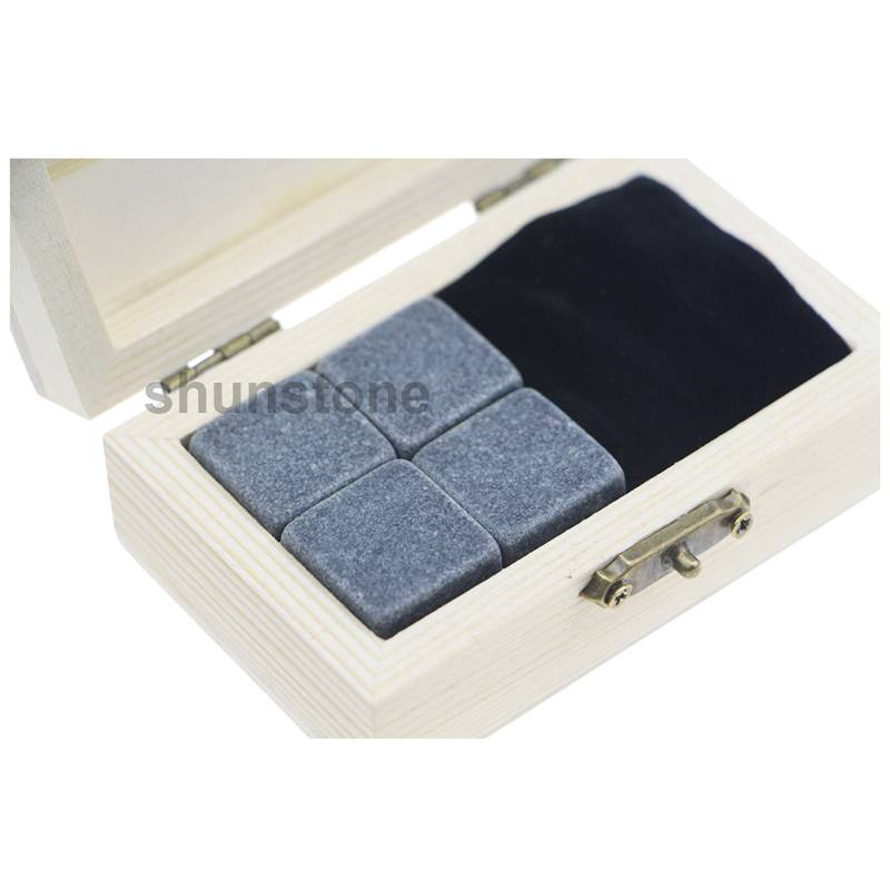 Promotional Gift Item 4pcs of Reusable Grey Ice stone high quantity and Cheap Whiskey Stones Gift Set with Velvet Bag small stone gift set Featured Image