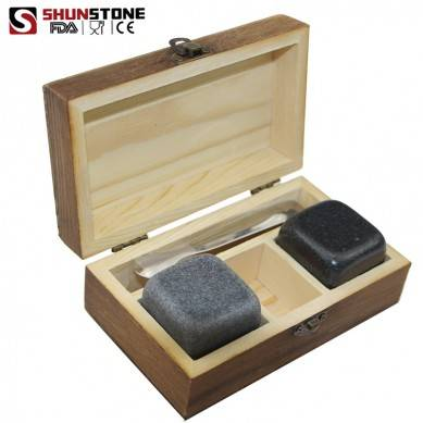 ROCKS Whiskey Chilling Stones Handcrafted Granite Round ice cube Rocks with Hardwood Presentation and Storage Tray
