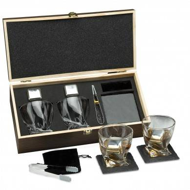 SHUNSTONE Premium Whiskey Stones Gift Set for Men – 2 King-Sized Chilling Stainless-Steel Whiskey Rocks – 11 oz 2 Large Twisted Whiskey Glasses, Slate Stone Coasters, Tongs – Luxury Set in Re...