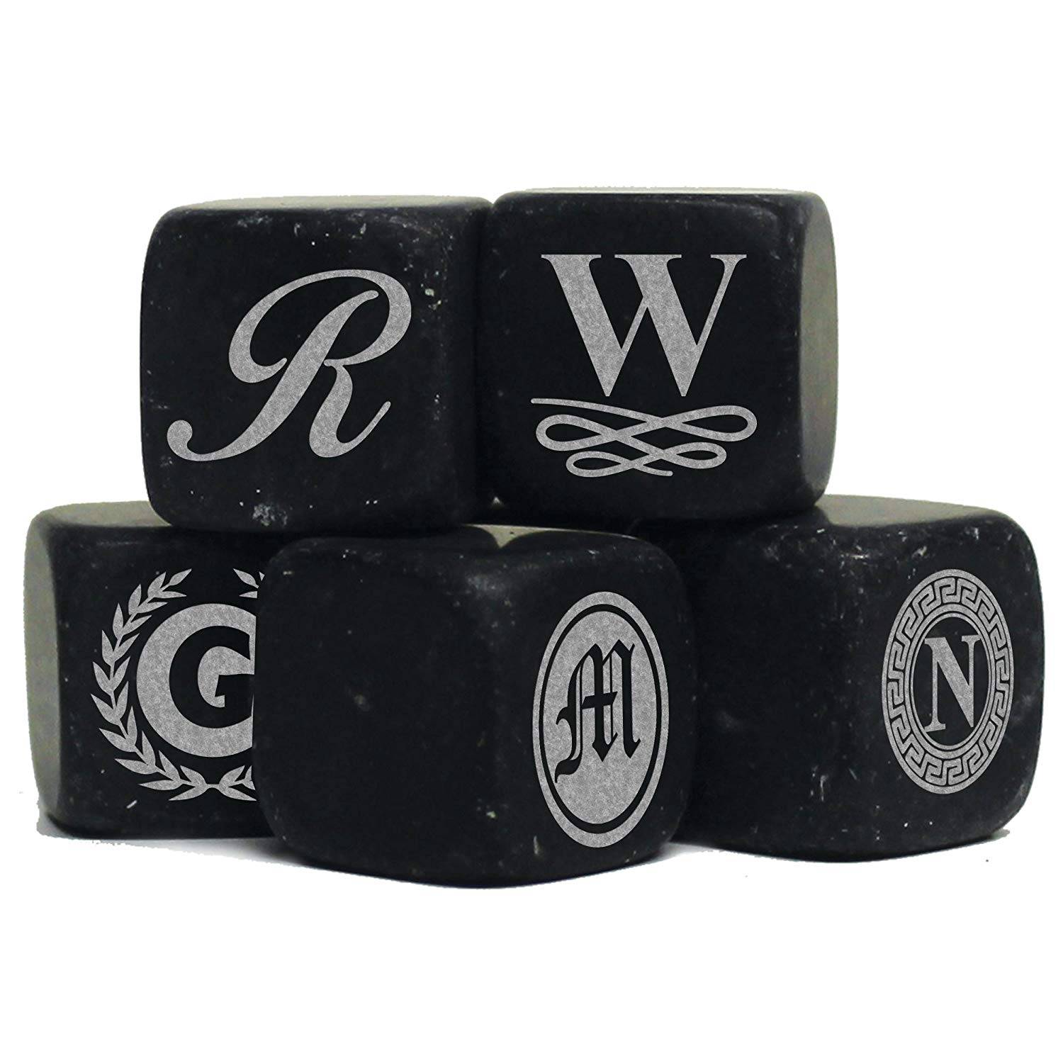 Personalized Whiskey Stones – Custom Engraved Groomsmen Gifts – Monogrammed for Free – Set of 9 Featured Image