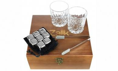 Exclusive Wine Gift Set Stainless Steel Chilling Whisky Stones with Large Crystal Whiskey Drinking Glasses