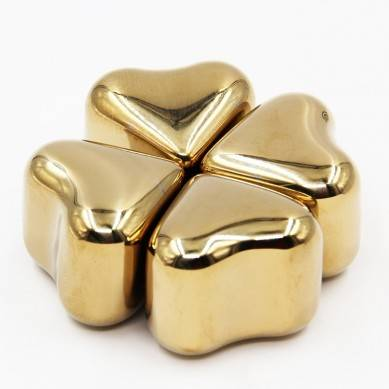 Best seeling gold color stainless steel heart Shaped whiskey stones