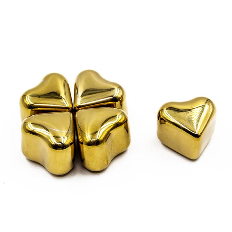 Best seeling gold color stainless steel heart Shaped whiskey stones Featured Image