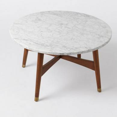 Marble center table Mid century modern coffee table with natural stone