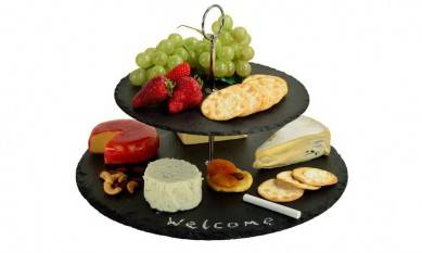 Round Serving Bread Laser Engraved Japanese Dry Fruit Decoration Handmade Latest Style Stone Slate Food Tray With Wheel