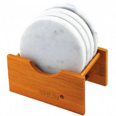 Amazion selling italy carrara White Marble Stone Coasters round shape Polished Coasters 3.5 Inches (9 cm) in Diameter