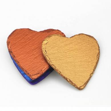 Amazon ebay hot sale wholesale color slate stone drink coasters cup mat gold heart shape coaster