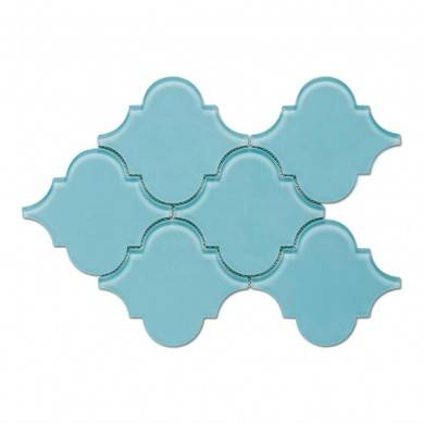 Arabesque Mosaic Tile Crystal Glass Blue and Grey Water Jet Mosaic