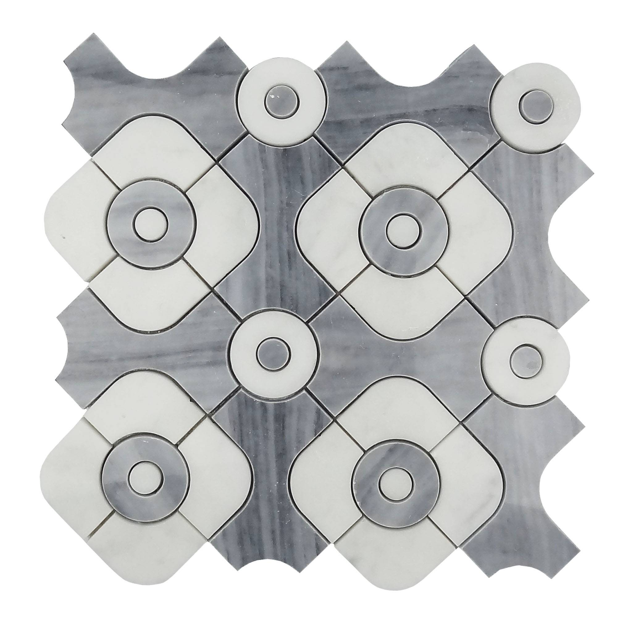 Artistical pattern grey and white waterjet mosaic tile for floor Featured Image