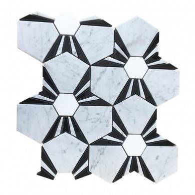 Beautiful polished white with black marble mosaic tile waterjet