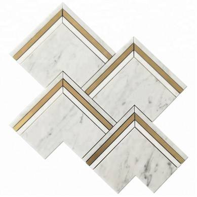 Brass and Bianco Carrara Marble Waterjet Mosaic Tiles Mosaic