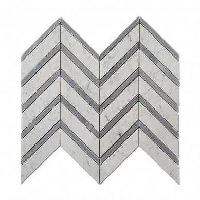Carrara White Mixed Carrara Grey Color Chevron Carrara Marble Mosaic Tile