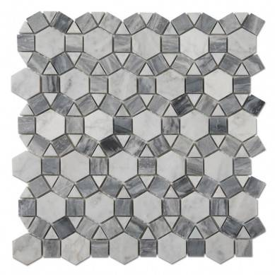 Carrara White Mixed Grey Sunflower Mosaic Tile Pattern Mosaic Stone Marble