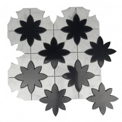 Carrara white with black flower water jet mosaic tile
