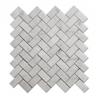 China Factory Carrara Marble Mosaic Bathroom Herringbone Marble Mosaic