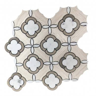 High Quality Wooden Gray Flower Marble Waterjet Mosaic tile