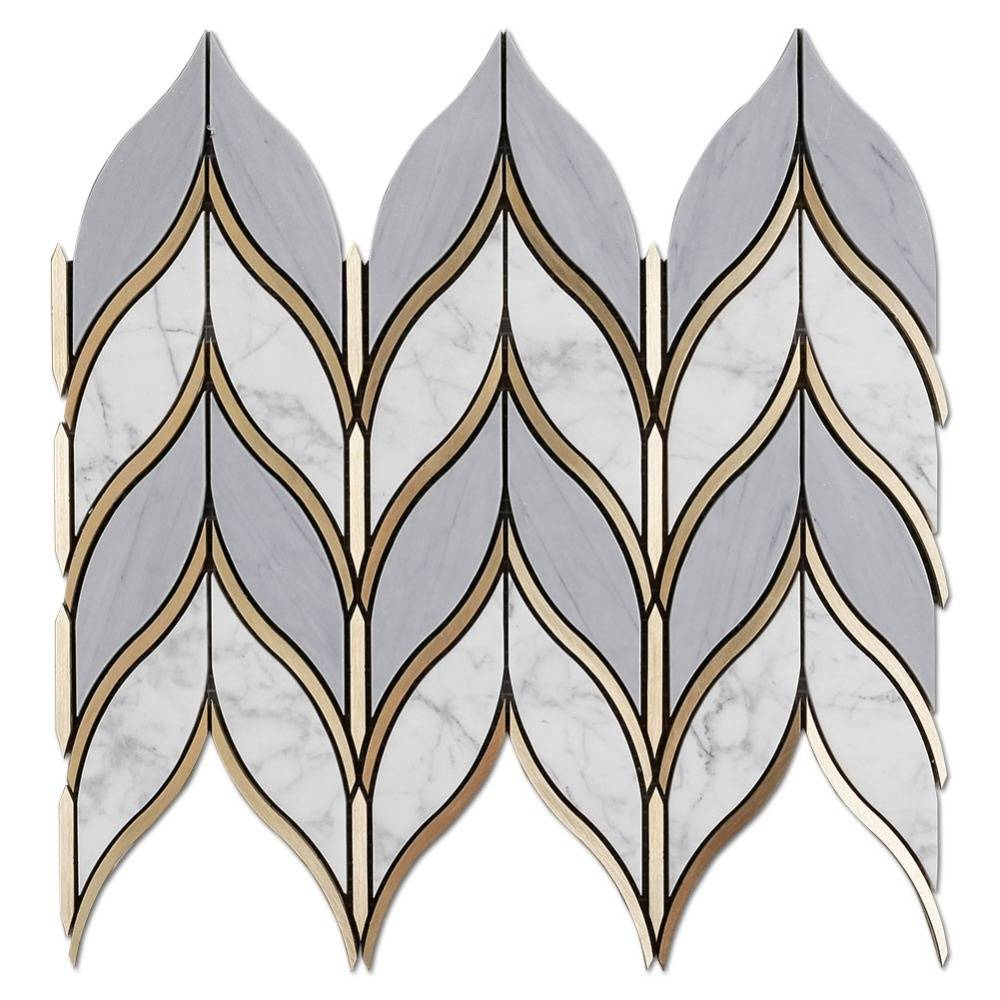 Soulscrafts Latin Grey And Carrara Marble And Brass Leaf Shape Waterjet Mosaic Tile Featured Image