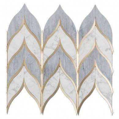 Leaf Shape Water jet Italy Statuario Mixed Grey Marble and Brass Mosaic Tile Waterjet Mosaic Tile