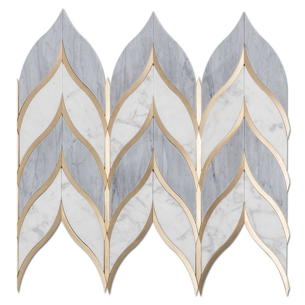 Leaf Shape Water jet Italy Statuario Mixed Grey Marble and Brass Mosaic Tile Waterjet Mosaic Tile Featured Image