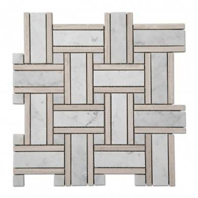 Light Wooden Carrara Marble Basketweave Mosaic Bathroom Floor Tiles