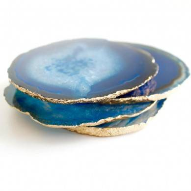 Gorgeous Blue Agate Coasters with Gold/Silver Trim, Creative Home Decoration, Special Wedding Gift