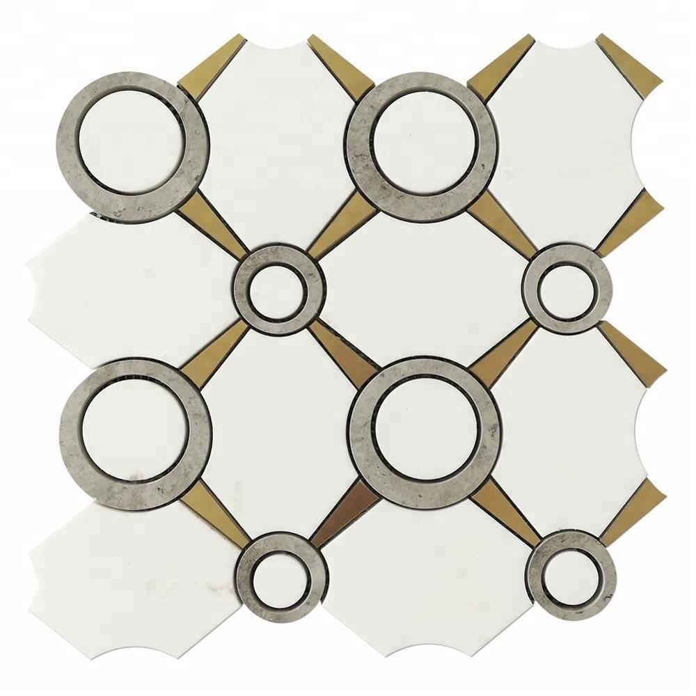 New Arrival White Thassos Marble and Brass Tile Waterjet Mosaic Featured Image