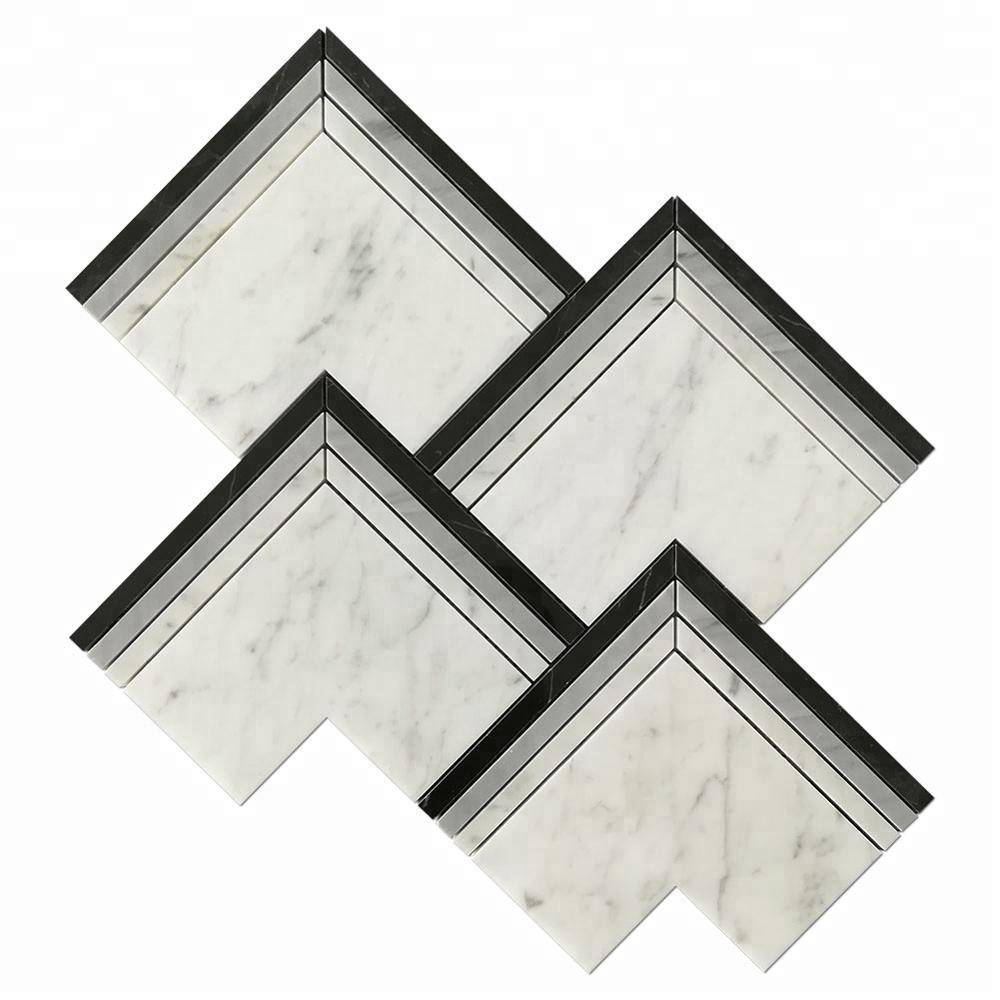 Brass and White Thassos Marble Waterjet Stone Mosaic for Bathroom Decoration Featured Image