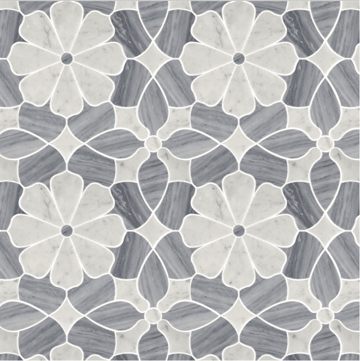 Polished flower marble water jet mosaic tiles Featured Image
