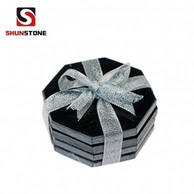Set of 4 Pcs Hexagonal Black Marble Coasters with Glass and Custom Packaging box