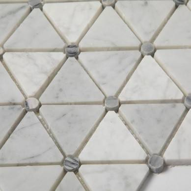 Soft Triangle White Carrara Marble Mosaic Tiles For Kitchen or Backsplash