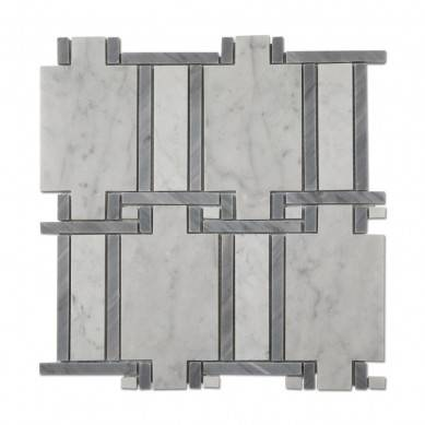 Soulscrafts Carrara White Mixed Grey Marble Natural Mosaic Stone Tile